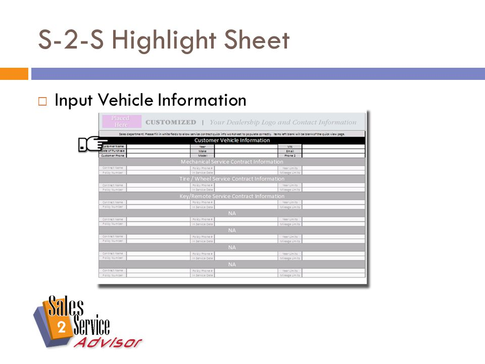 S-2-S Highlight Sheet  Input Service Contract Information