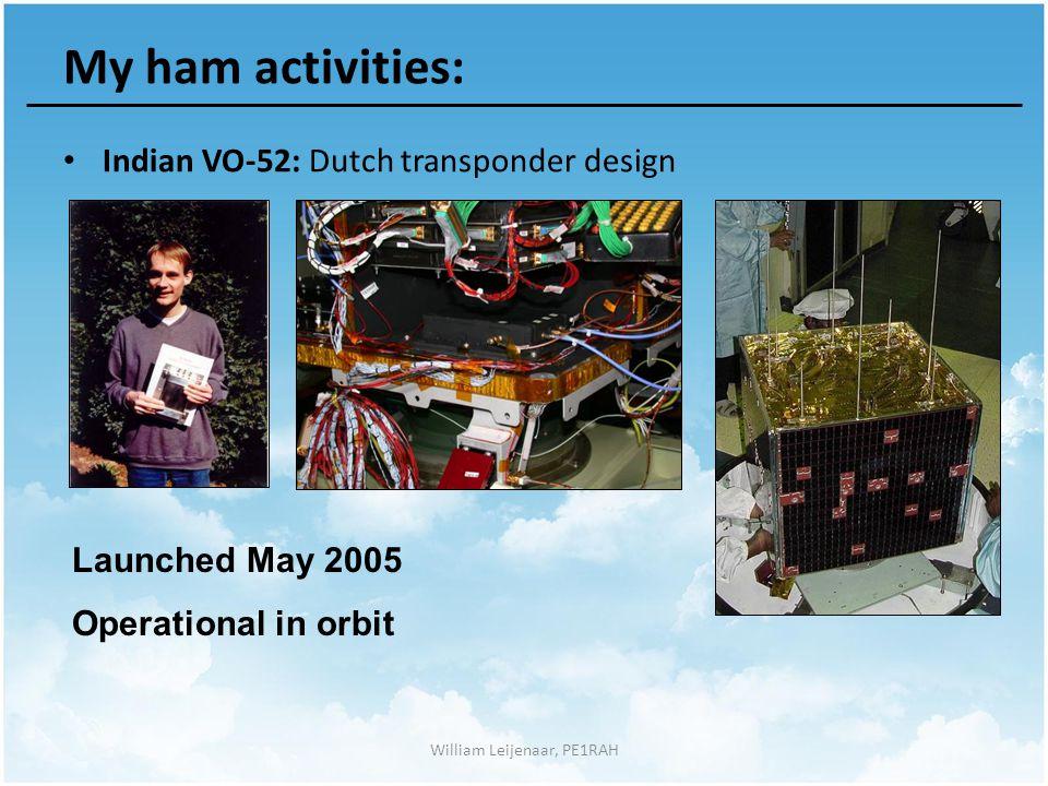 William Leijenaar, PE1RAH My ham activities: Indian VO-52: Dutch transponder design Launched May 2005 Operational in orbit