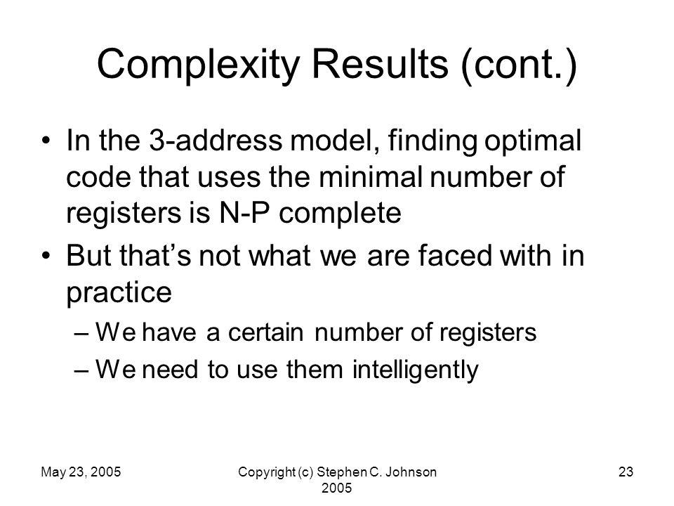 May 23, 2005Copyright (c) Stephen C.