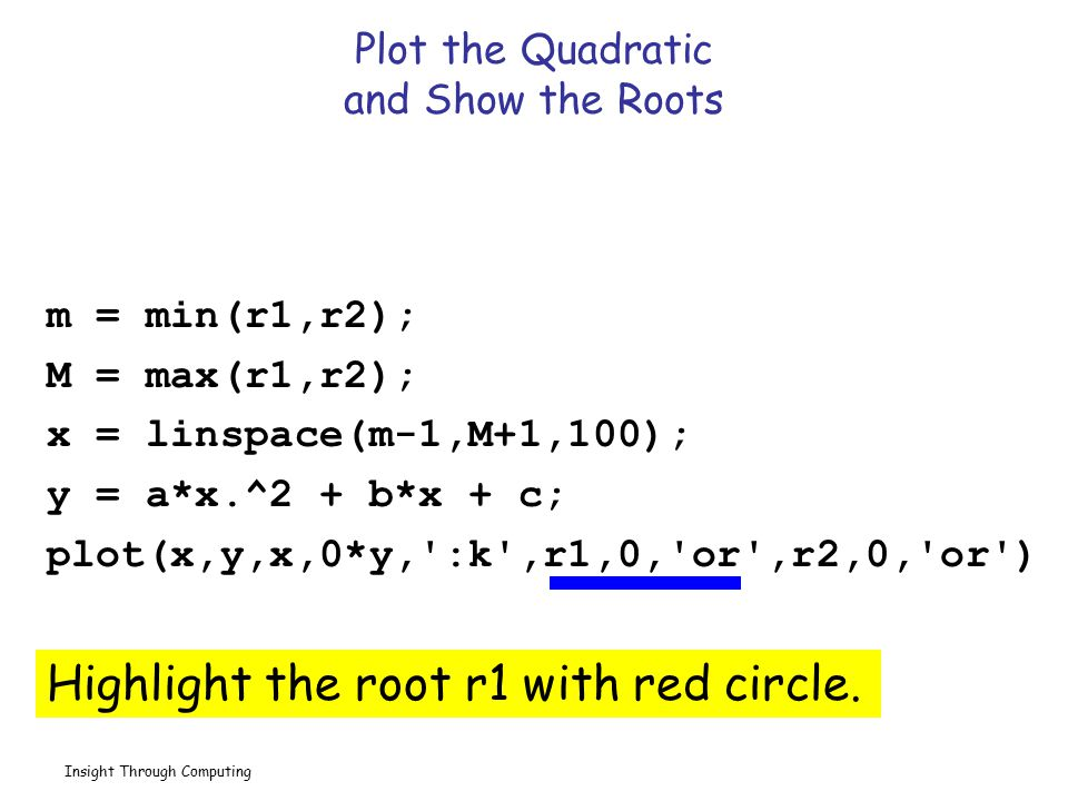 Insight Through Computing Plot the Quadratic and Show the Roots m = min(r1,r2); M = max(r1,r2); x = linspace(m-1,M+1,100); y = a*x.^2 + b*x + c; plot(x,y,x,0*y, :k ,r1,0, or ,r2,0, or ) Highlight the root r2 with red circle.