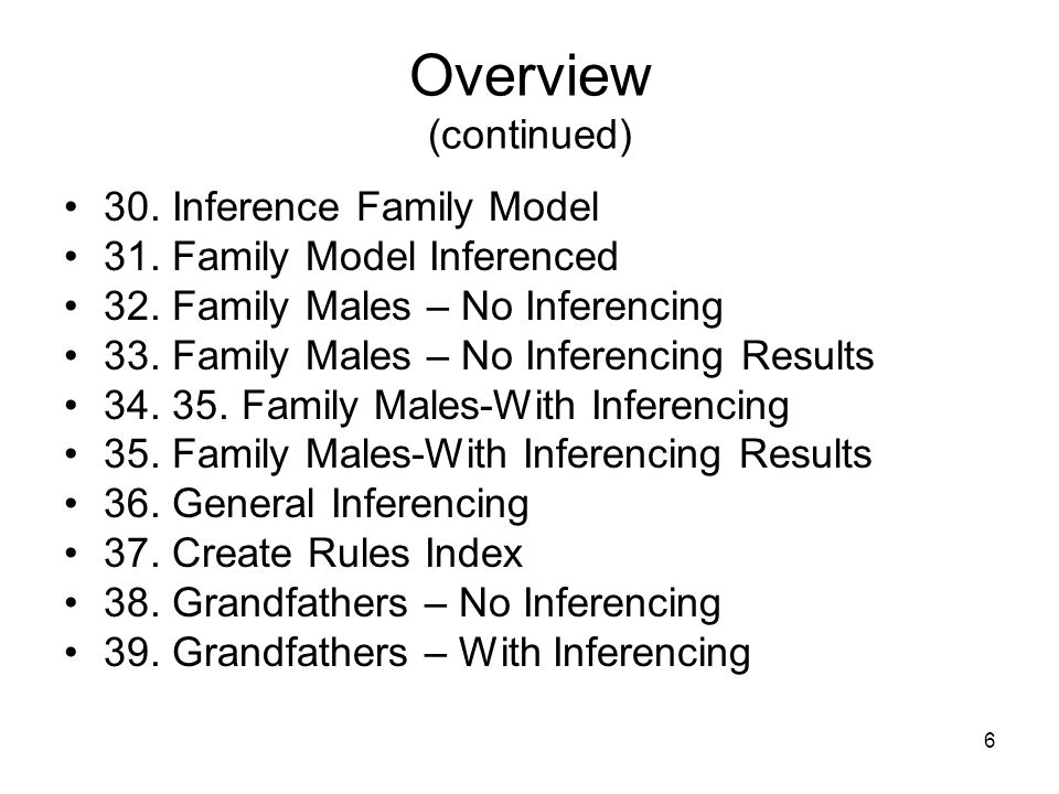 6 Overview (continued) 30. Inference Family Model 31.