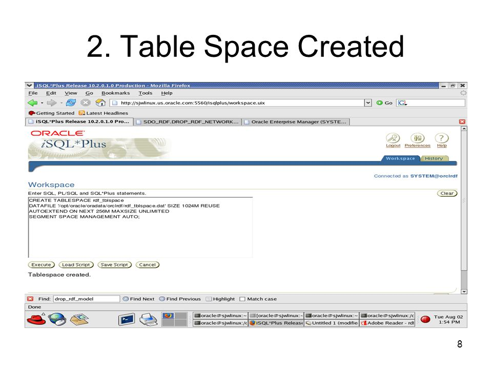 8 2. Table Space Created