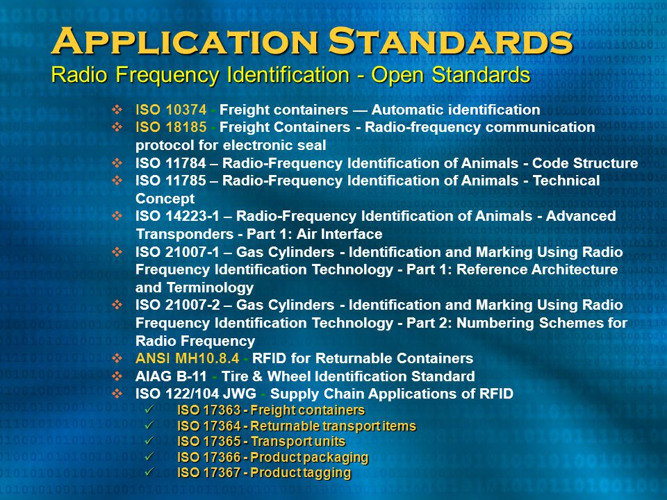 Application Standards Radio Frequency Identification - Open Standards  ISO 10374 - Freight containers — Automatic identification  ISO 18185 - Freigh