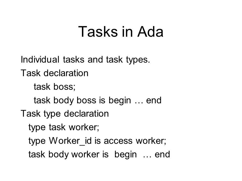 Tasks in Ada Individual tasks and task types. Task declaration task boss; task body boss is begin … end Task type declaration type task worker; type W