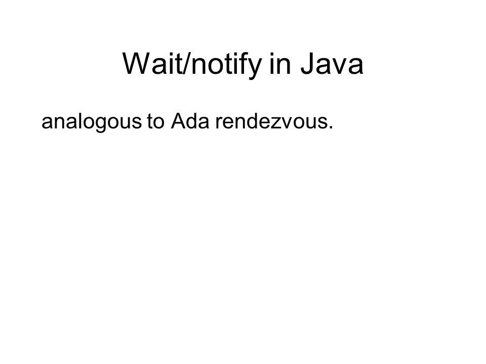 Wait/notify in Java analogous to Ada rendezvous.