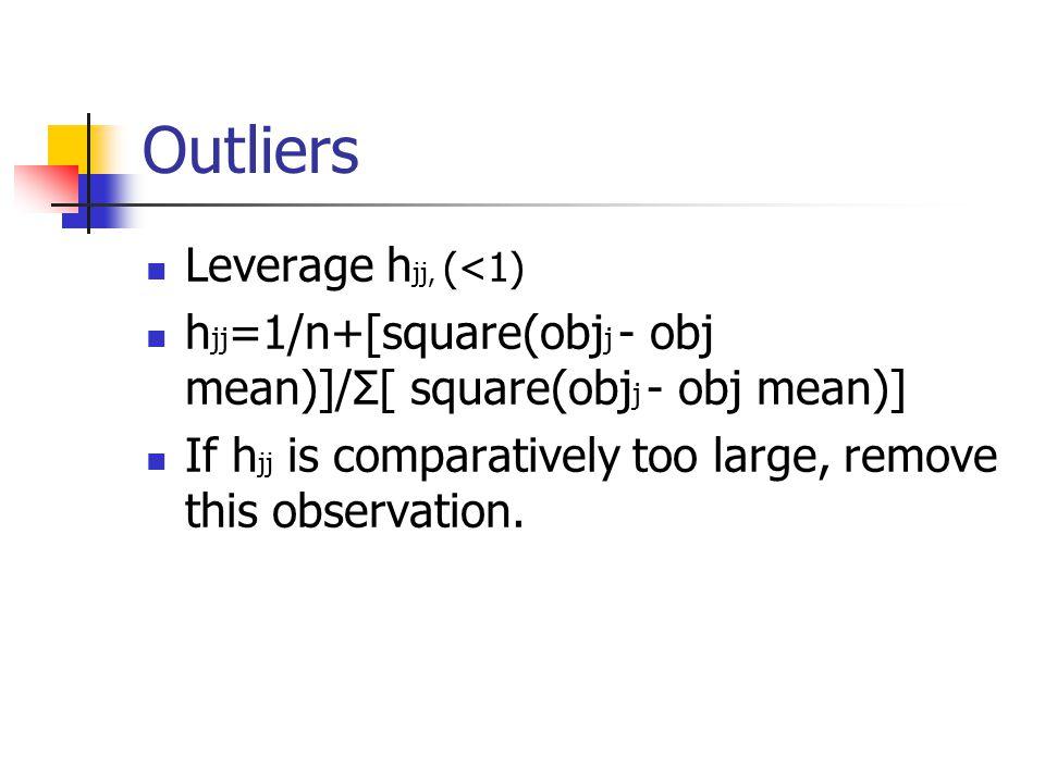 Outliers Leverage h jj, (<1) h jj =1/n+[square(obj j - obj mean)]/Σ[ square(obj j - obj mean)] If h jj is comparatively too large, remove this observation.