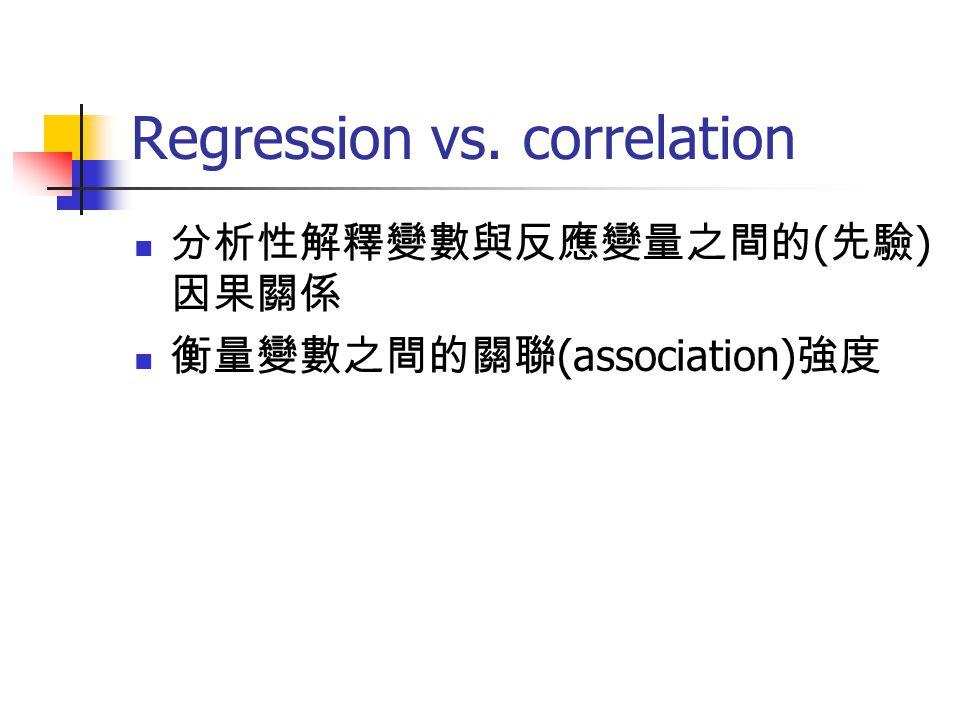 Regression model (Y 1, Y 2, … Y j )= f (X 1, X 2, … X k ) k ≧ 2, multiple regression( 複迴歸 ) j ≧ 2, multivariate regression( 多元迴歸 ) The assumed model, y n =β 0 +β 1 x 1 +β 2 x 2 + … β n x n +e n, e n is the random error term based on some prerequisite assumptions Normal i.i.d.