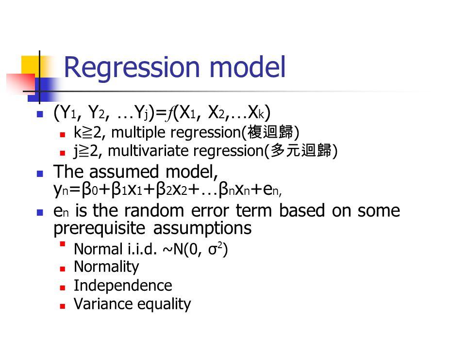 Regression model (Y 1, Y 2, … Y j )= f (X 1, X 2, … X k ) k ≧ 2, multiple regression( 複迴歸 ) j ≧ 2, multivariate regression( 多元迴歸 ) The assumed model,