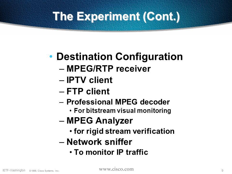 9 IETF-Washington © 1999, Cisco Systems, Inc. The Experiment (Cont.) Destination Configuration –MPEG/RTP receiver –IPTV client –FTP client –Profession