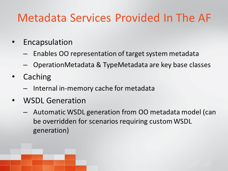 Metadata Services Provided In The AF Encapsulation – Enables OO representation of target system metadata – OperationMetadata & TypeMetadata are key base classes Caching – Internal in-memory cache for metadata WSDL Generation – Automatic WSDL generation from OO metadata model (can be overridden for scenarios requiring custom WSDL generation)