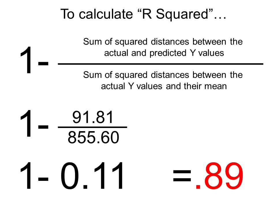 1- Sum of squared distances between the actual and predicted Y values Sum of squared distances between the actual Y values and their mean To calculate