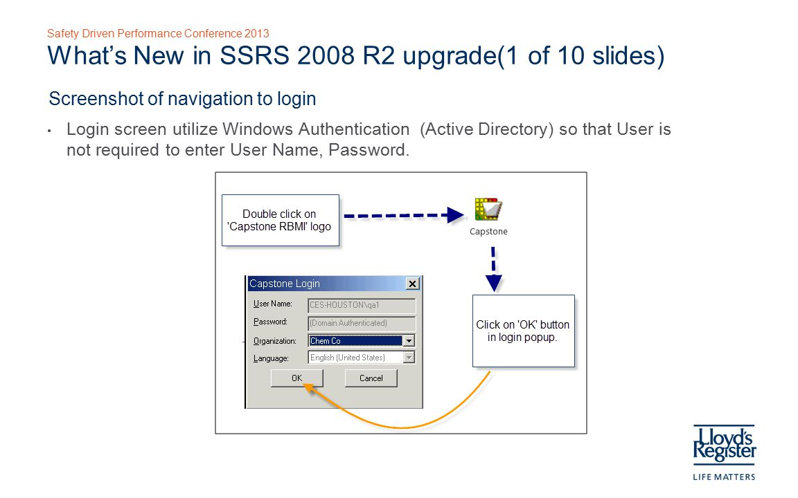 Safety Driven Performance Conference 2013 What's New in SSRS 2008 R2 upgrade(1 of 10 slides) Screenshot of navigation to login Login screen utilize Windows Authentication (Active Directory) so that User is not required to enter User Name, Password.