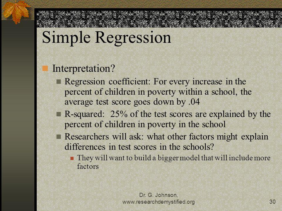 Dr. G. Johnson, www.researchdemystified.org30 Simple Regression Interpretation.