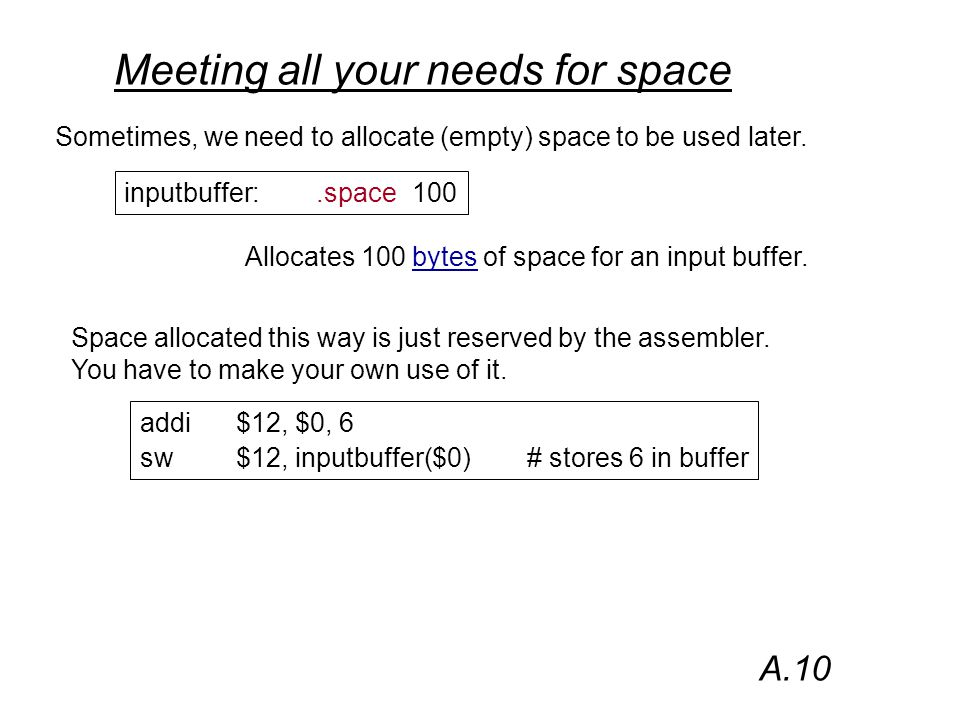 Meeting all your needs for space Sometimes, we need to allocate (empty) space to be used later.