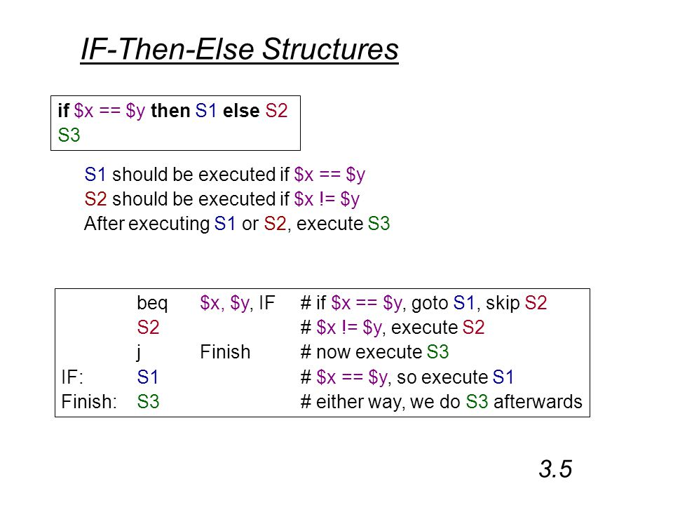 IF-Then-Else Structures if $x == $y then S1 else S2 S3 S1 should be executed if $x == $y S2 should be executed if $x != $y After executing S1 or S2, execute S3 beq$x, $y, IF# if $x == $y, goto S1, skip S2 S2 # $x != $y, execute S2 jFinish# now execute S3 IF:S1 # $x == $y, so execute S1 Finish:S3# either way, we do S3 afterwards 3.5