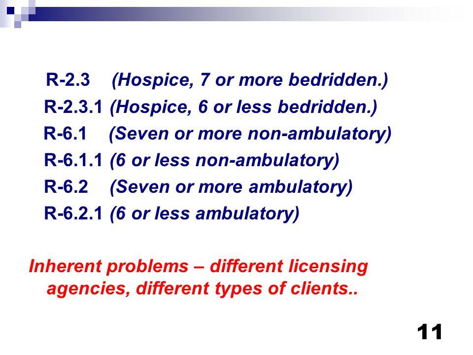11 R-2.3 (Hospice, 7 or more bedridden.) R-2.3.1 (Hospice, 6 or less bedridden.) R-6.1 (Seven or more non-ambulatory) R-6.1.1 (6 or less non-ambulator
