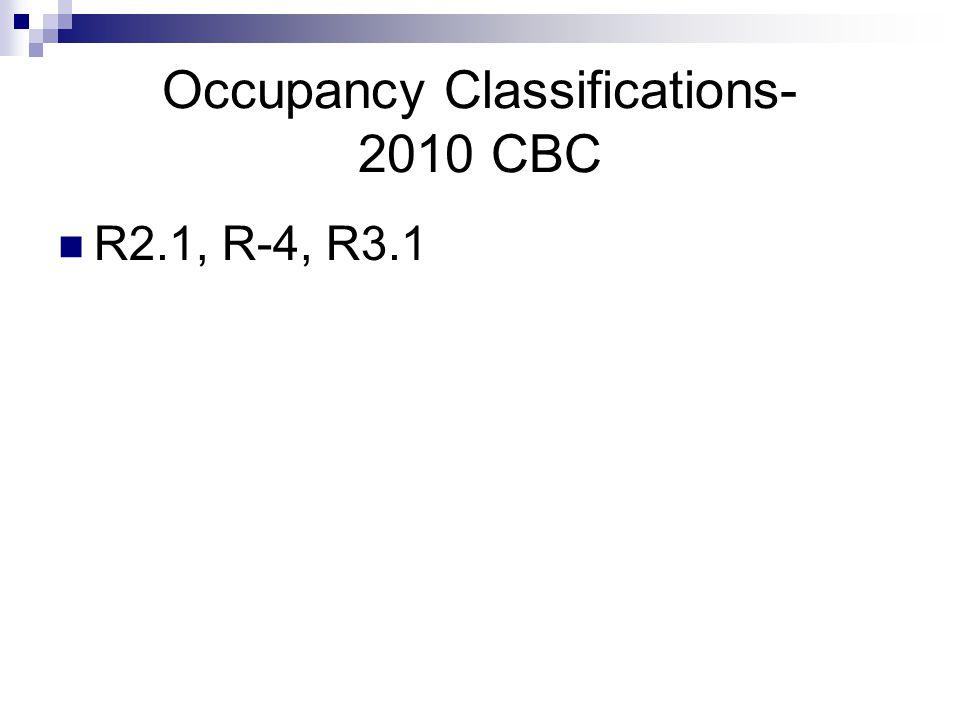 Occupancy Classifications- 2010 CBC R2.1, R-4, R3.1