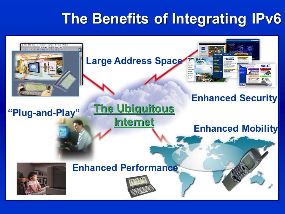The Benefits of Integrating IPv6 Large Address Space Plug-and-Play Enhanced Mobility The Ubiquitous Internet The Ubiquitous Internet Enhanced Security Enhanced Performance
