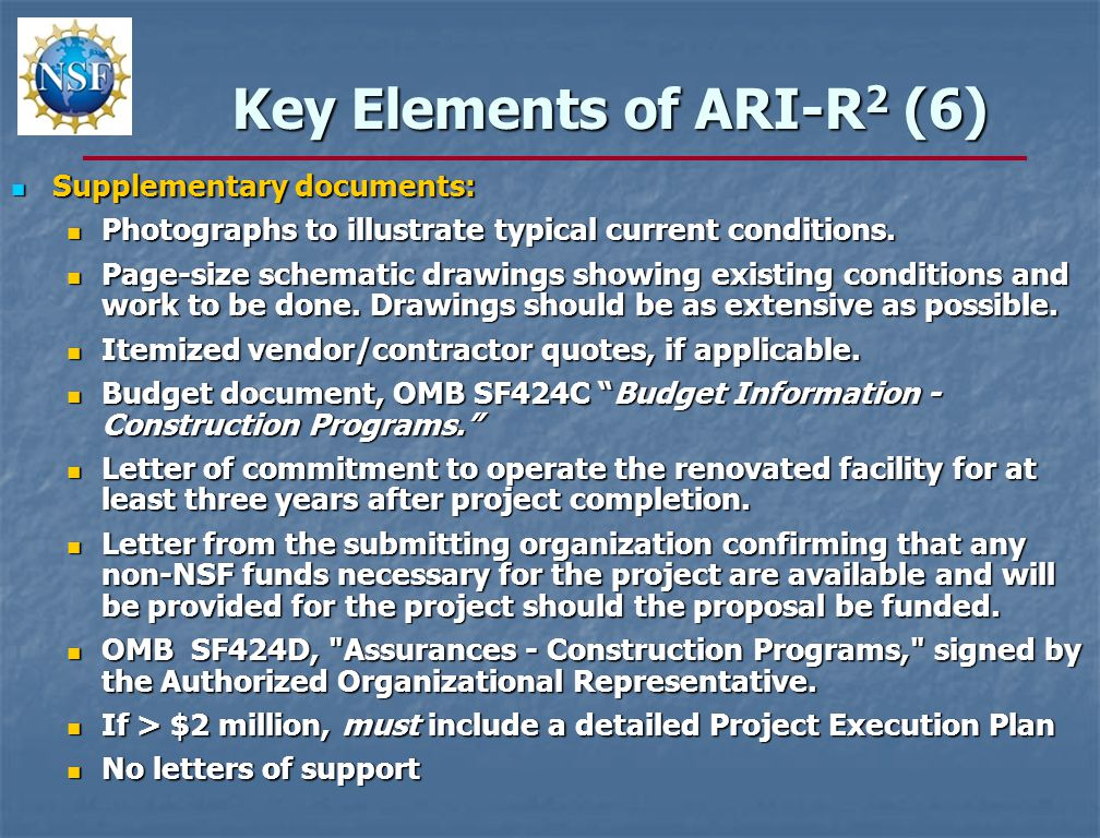 Key Elements of ARI-R 2 (6) Supplementary documents: Supplementary documents: Photographs to illustrate typical current conditions.