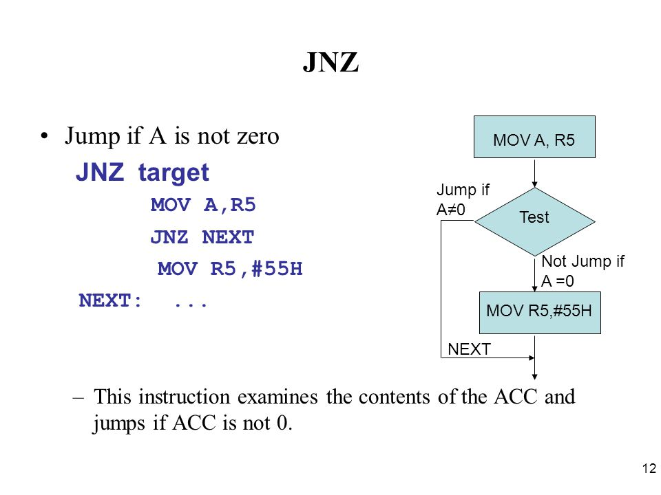 12 JNZ Jump if A is not zero JNZ target MOV A,R5 JNZ NEXT MOV R5,#55H NEXT:... –This instruction examines the contents of the ACC and jumps if ACC is
