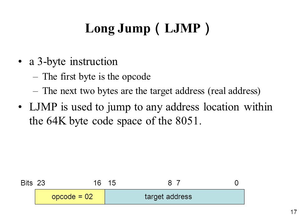 17 Long Jump ( LJMP ) a 3-byte instruction –The first byte is the opcode –The next two bytes are the target address (real address) LJMP is used to jump to any address location within the 64K byte code space of the 8051.