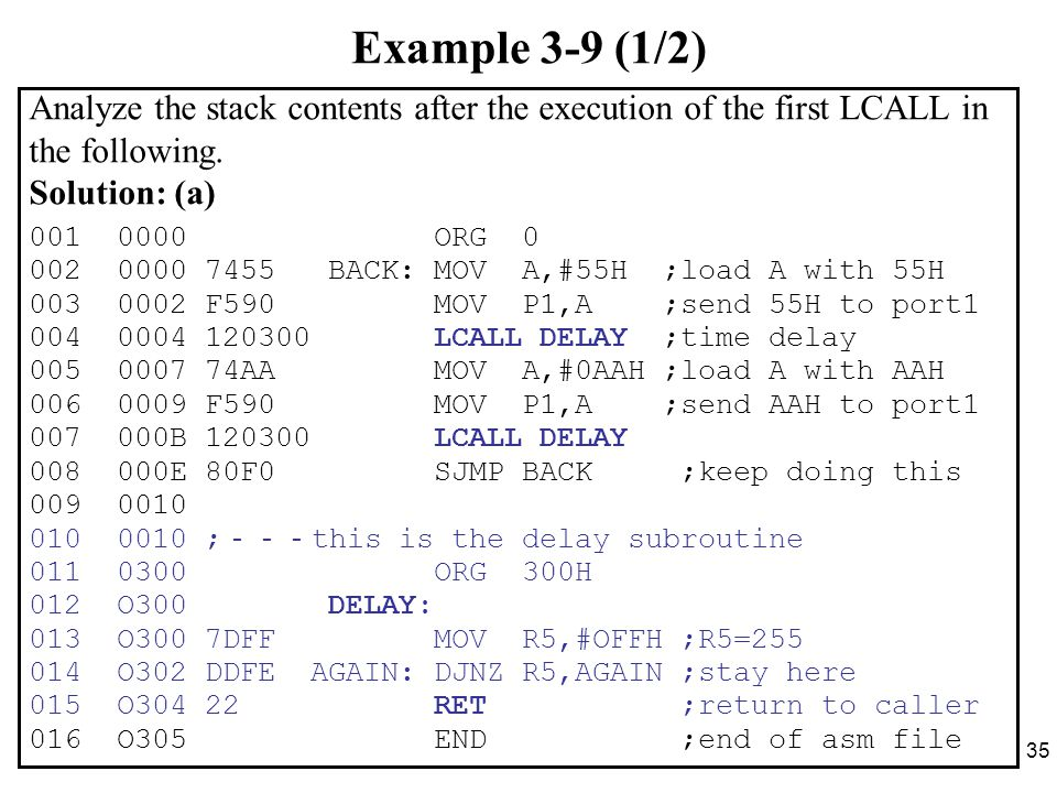 35 Example 3-9 (1/2) Analyze the stack contents after the execution of the first LCALL in the following.