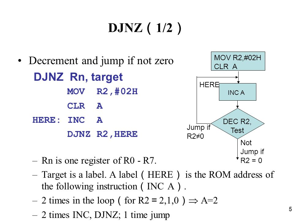 5 DJNZ ( 1/2 ) Decrement and jump if not zero DJNZ Rn, target MOV R2,#02H CLR A HERE: INC A DJNZ R2,HERE –Rn is one register of R0 - R7.