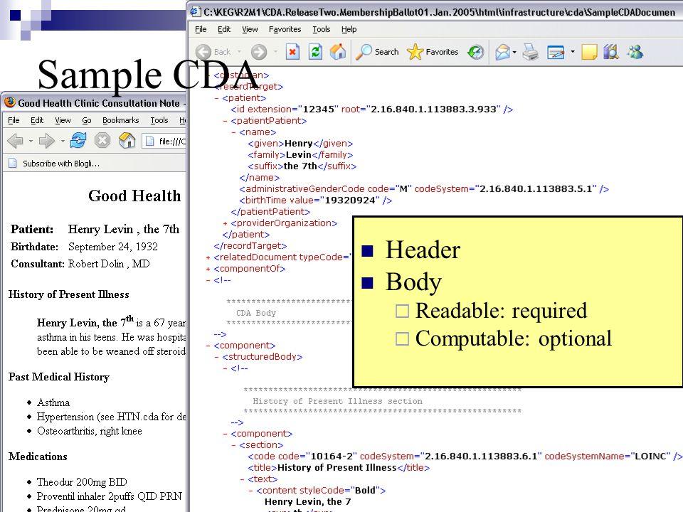 Header Body  Readable: required  Computable: optional Sample CDA