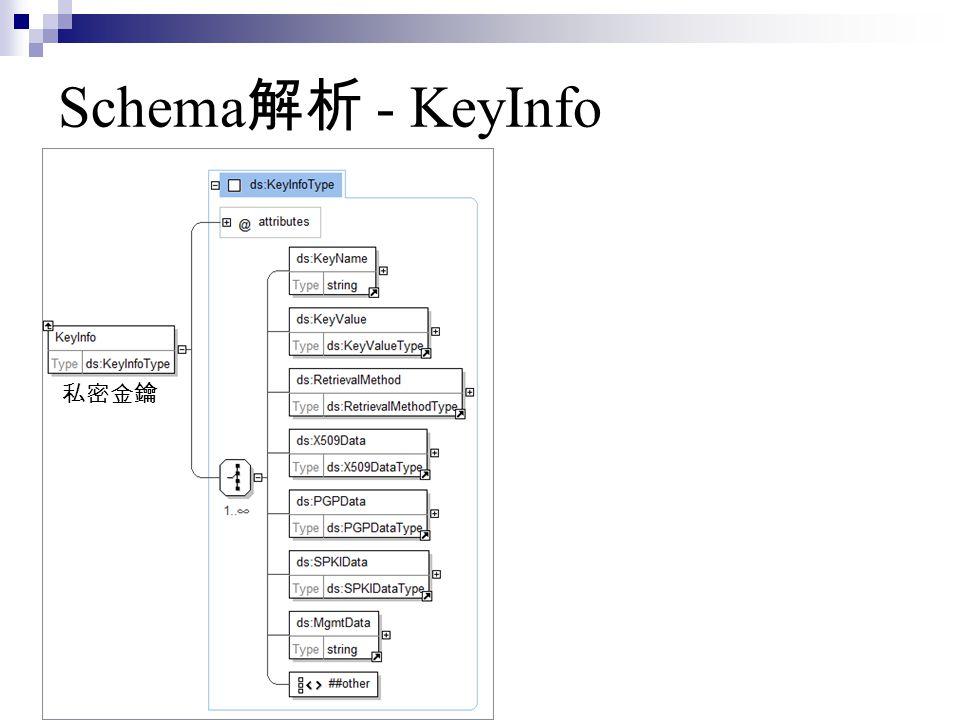 Schema 解析 - KeyInfo 私密金鑰