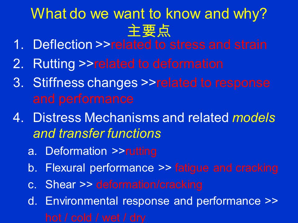 What do we want to know and why?(cont) 续 1.Loading rate>>related to stress and strain 2.Range of validity of characteristics >>related to extrapolation and prediction of of response and performance 3.Effect of Aging >>related to response and performance 4.Effect of Densification >>related to response and performance 5.Effect of Material Properties >>related to response and performance 6.Validation of analytical tools