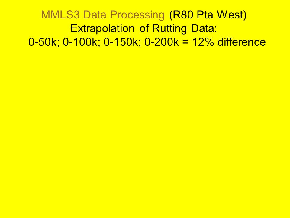 MMLS3 Data Processing (R80 Pta West) Extrapolation of Rutting Data: 0-50k; 0-100k; 0-150k; 0-200k = 12% difference