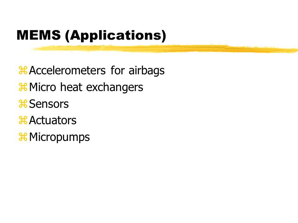 MEMS (Applications) zAccelerometers for airbags zMicro heat exchangers zSensors zActuators zMicropumps