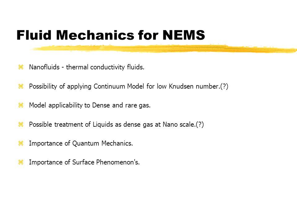 Fluid Mechanics for NEMS zNanofluids - thermal conductivity fluids.