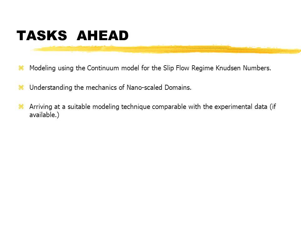 TASKSAHEAD zModeling using the Continuum model for the Slip Flow Regime Knudsen Numbers.