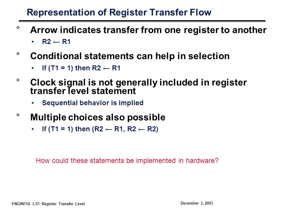 ENGIN112 L37: Register Transfer Level December 3, 2003 Typical Design Flow °It all starts with Verilog description