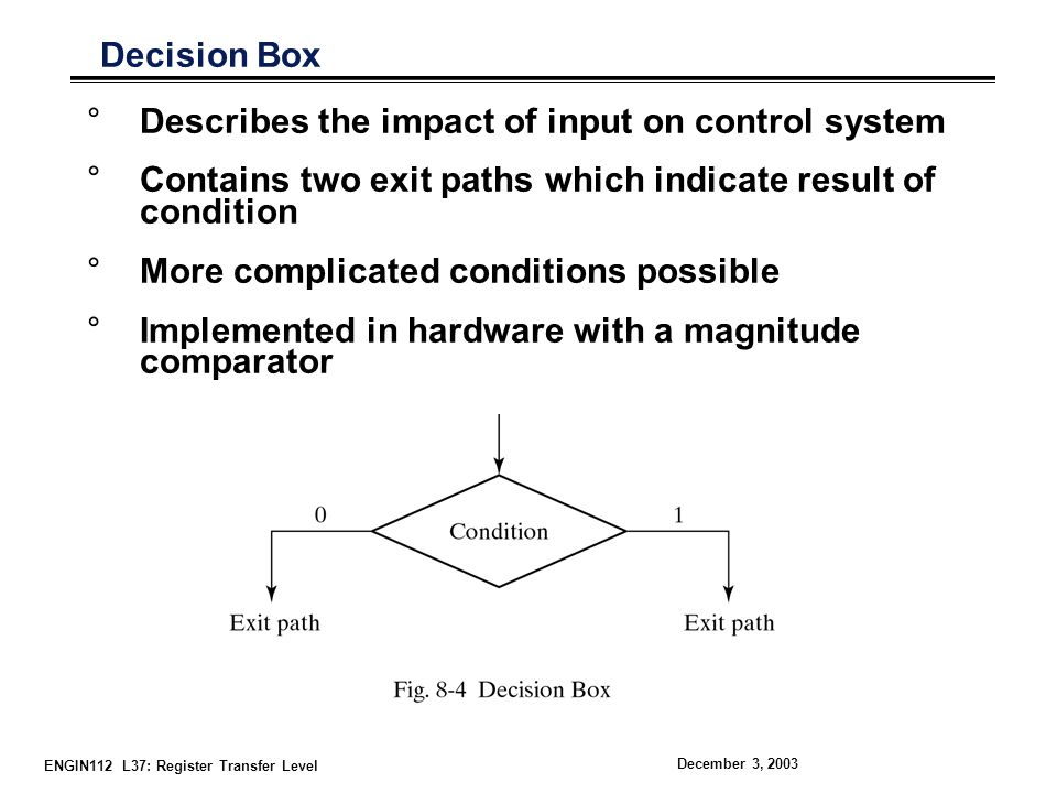 ENGIN112 L37: Register Transfer Level December 3, 2003 Conditional Box °Indicates assignments following a decision box °Generally indicates data transfer
