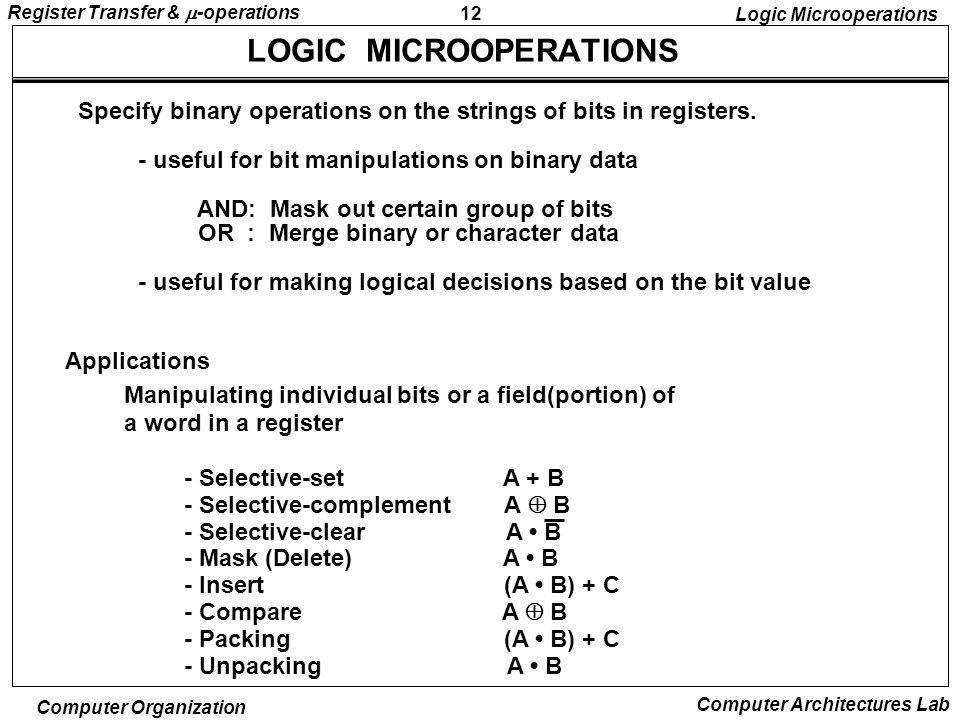 12 Register Transfer &  -operations Computer Organization Computer Architectures Lab LOGIC MICROOPERATIONS Specify binary operations on the strings of bits in registers.