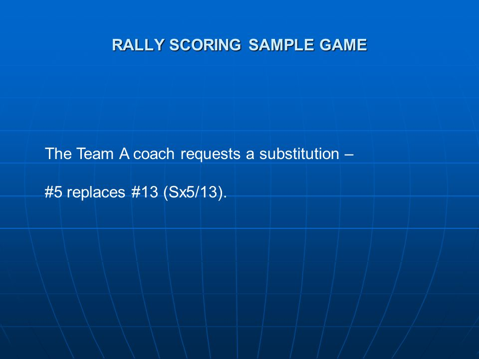 RALLY SCORING SAMPLE GAME The Team A coach requests a substitution – #5 replaces #13 (Sx5/13).