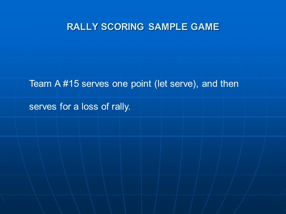 RALLY SCORING SAMPLE GAME Team A #15 serves one point (let serve), and then serves for a loss of rally.