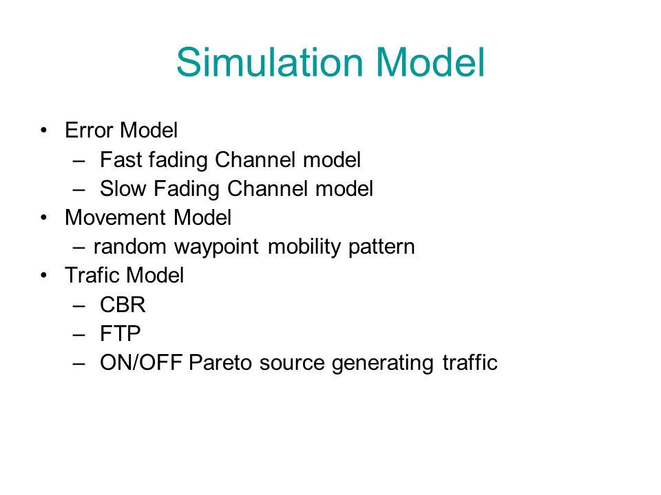Simulation Model Error Model – Fast fading Channel model – Slow Fading Channel model Movement Model –random waypoint mobility pattern Trafic Model – C