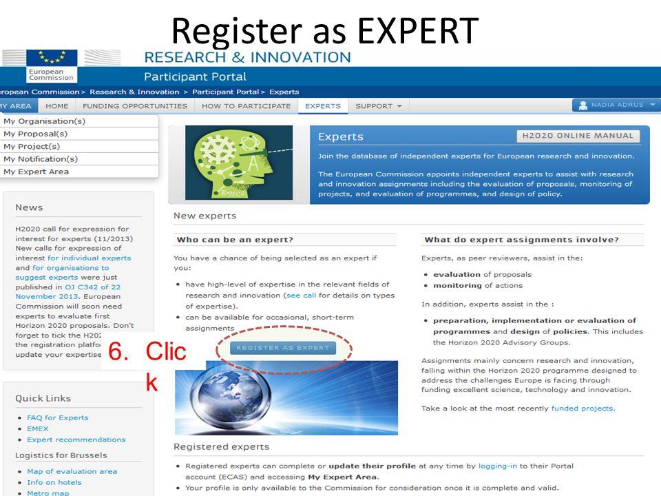 19 Register as EXPERT 6.Clic k