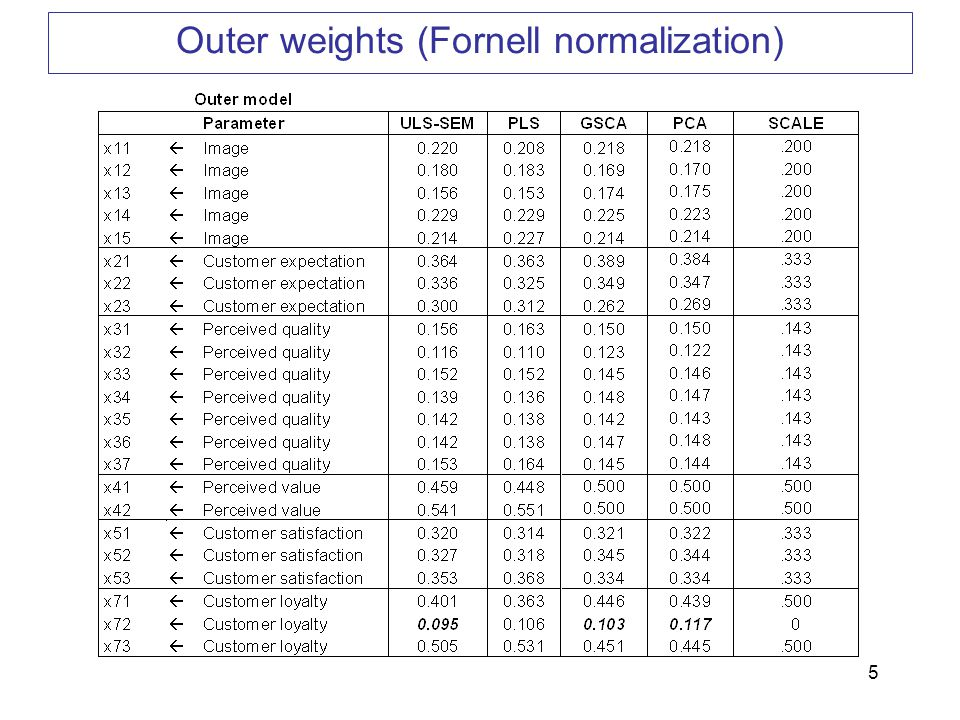 5 Outer weights (Fornell normalization)