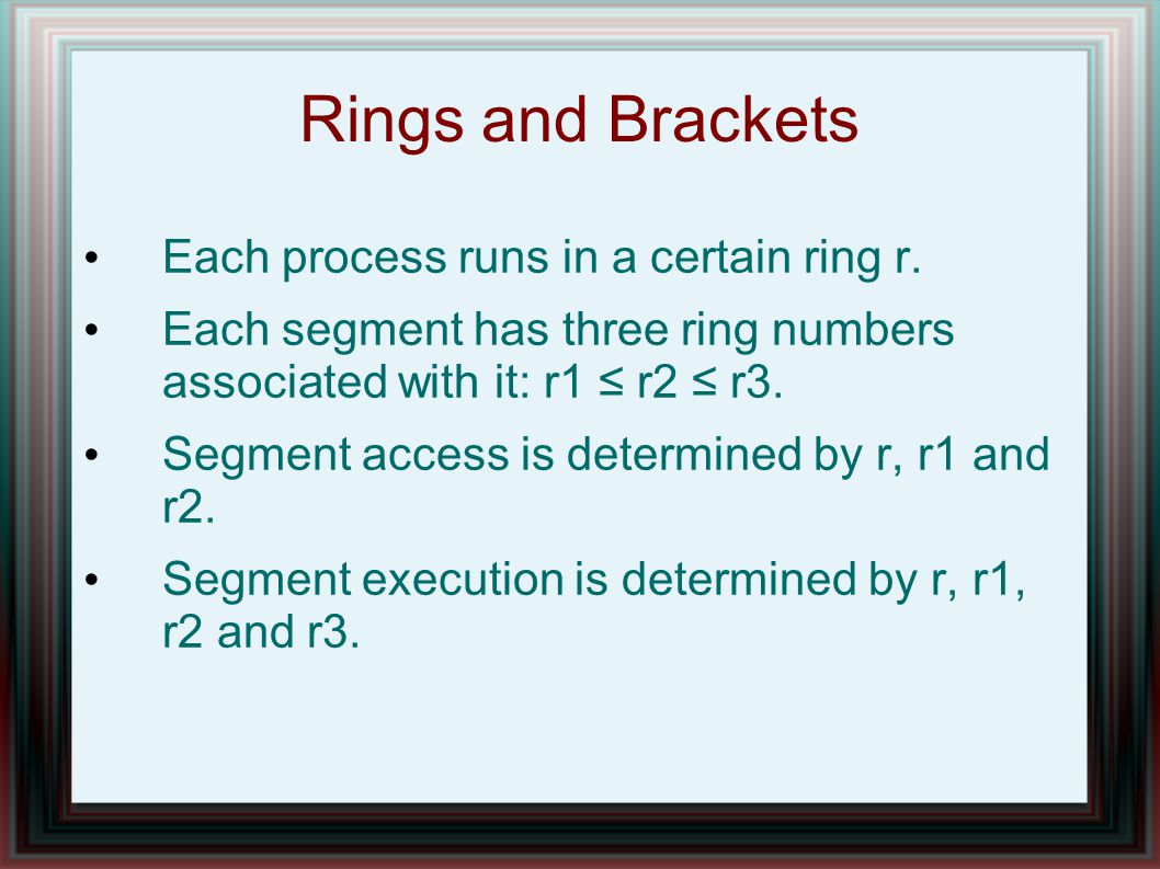 Rings and Brackets Each process runs in a certain ring r.