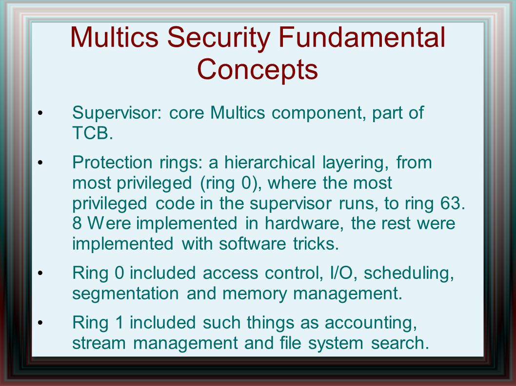 Multics Security Fundamental Concepts Supervisor: core Multics component, part of TCB.