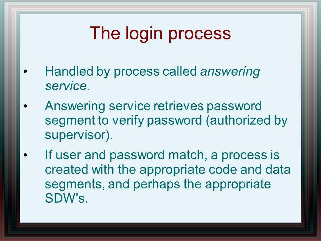 The Multics login authorization process.