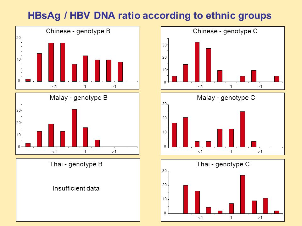 HBsAg / HBV DNA ratio according to ethnic groups