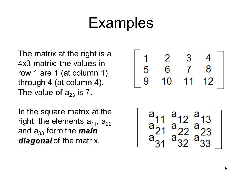 5 Examples The matrix at the right is a 4x3 matrix; the values in row 1 are 1 (at column 1), through 4 (at column 4).