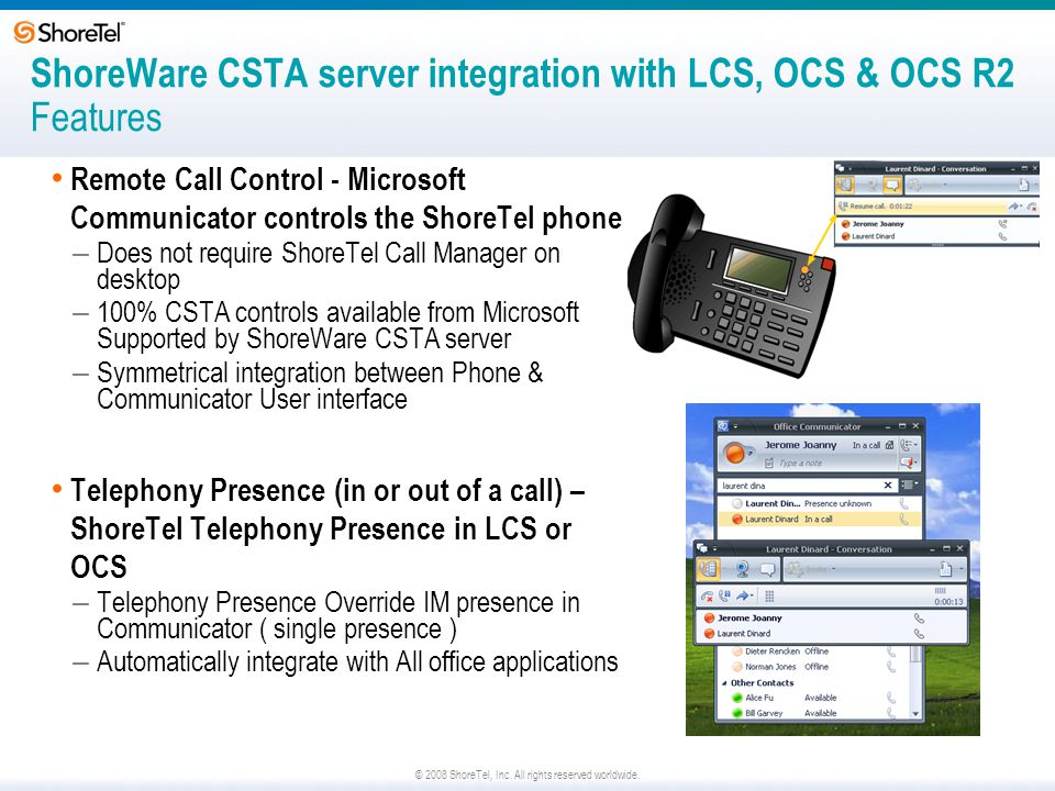 © 2008 ShoreTel, Inc. All rights reserved worldwide. ShoreWare CSTA server integration with LCS, OCS & OCS R2 Features Remote Call Control - Microsoft