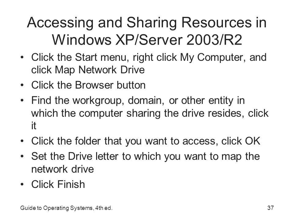 Accessing and Sharing Resources in Windows XP/Server 2003/R2 Configuring a shared folder in Windows XP Guide to Operating Systems, 4th ed.38