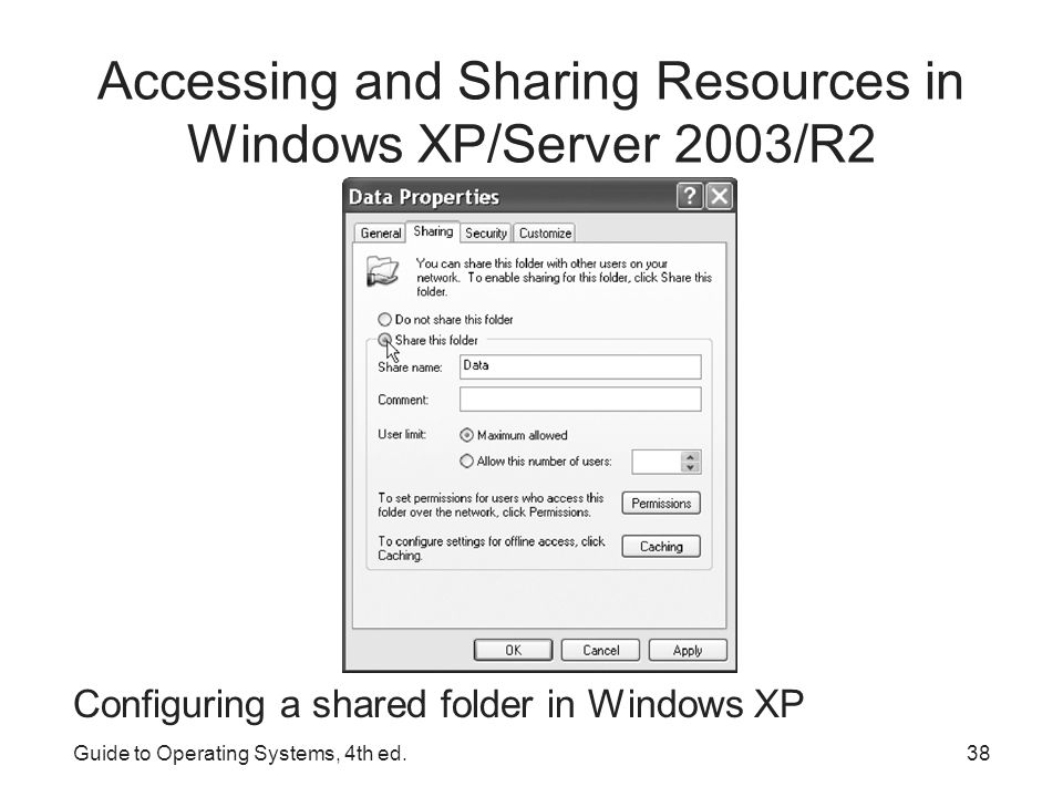 Accessing and Sharing Resources in Windows Vista/7/Server 2008/R2 Click the Start menu, click Computer, and click Map network drive Set the drive letter to which you want to map the network drive Click the Browse button Find the workgroup, domain, or other entity in which the computer sharing the drive resides, click it Click the folder you want to access, click OK Check the Reconnect at Login box if you want the mapping to be there after a reboot Click Finished when done Guide to Operating Systems, 4th ed.39